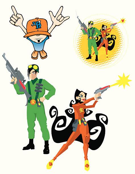 sammlung von cartoons pt3 teen - extravagant schutzbrille stock-grafiken, -clipart, -cartoons und -symbole