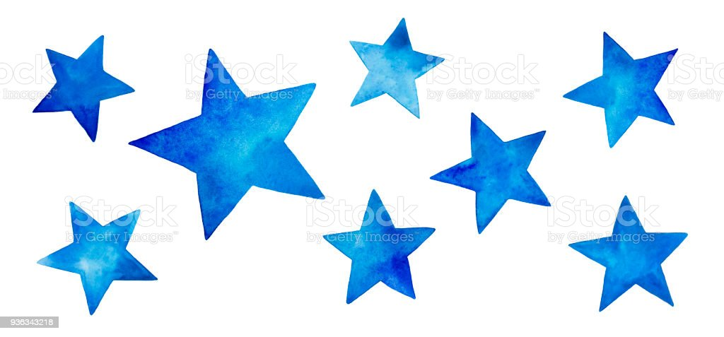 Collection of various blue watercolor stars. vector art illustration