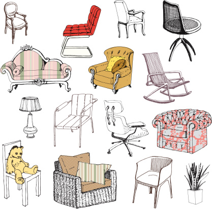 Collection of vector furniture.