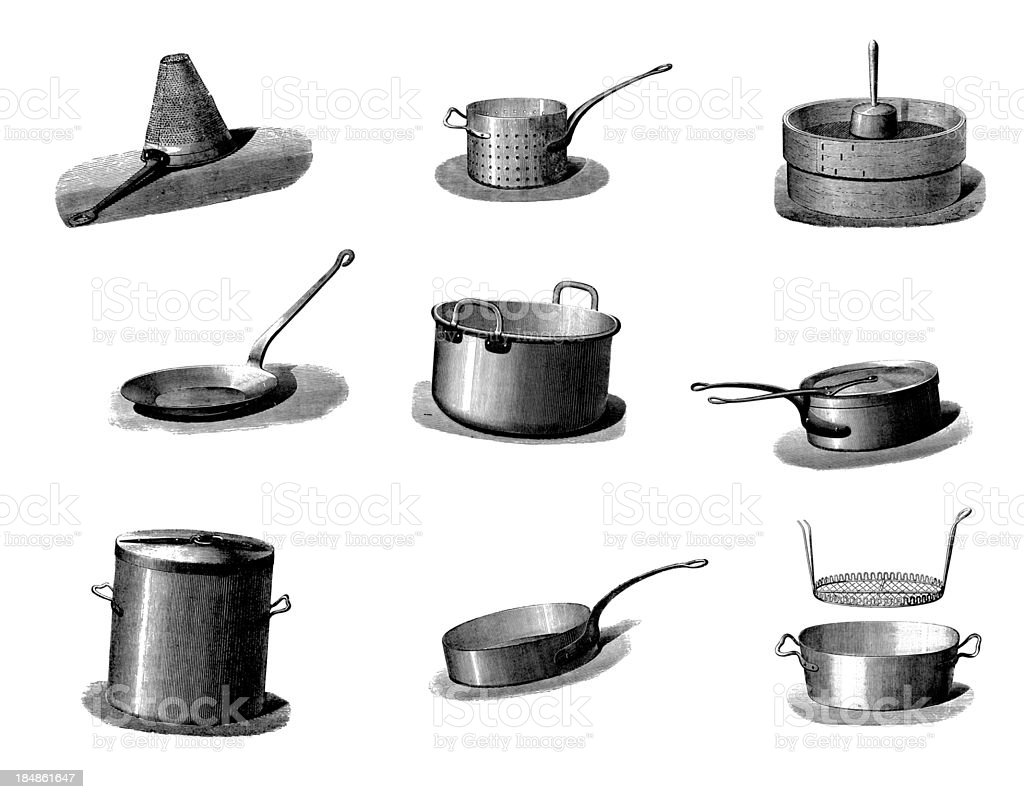 Collection of vintage cookware pans and kitchen utensil - Utensilios de cocina vintage ...