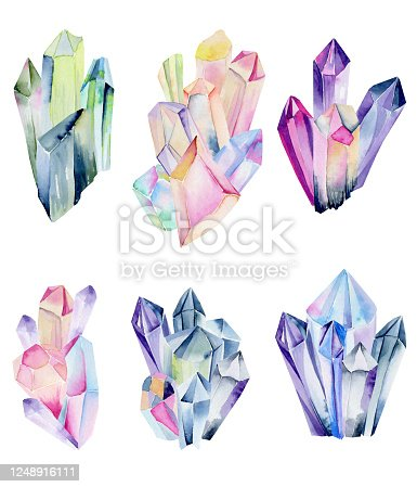 istock Collection of watercolor gem clusters, crystals, hand painted isolated illustration on a white background 1248916111