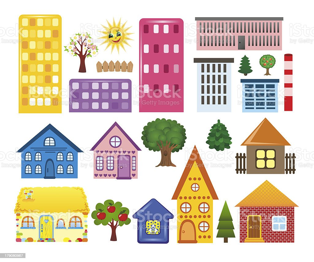Collections of different houses stock vector art more for Houses images pictures