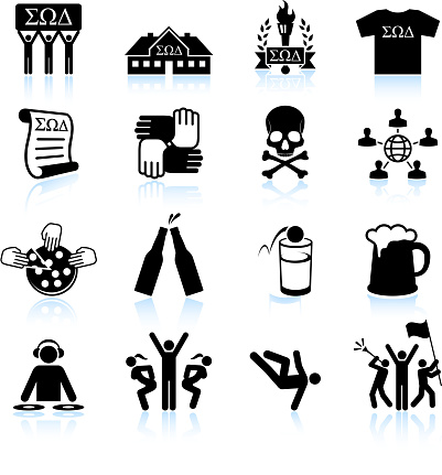 College fraternity Life black and white vector icon set