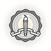 """""""Collegiate style seal with laurel wreath, banner and torch."""""""