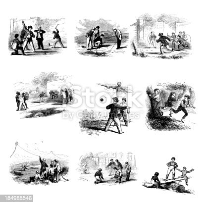 Antique engraving of a collection of outdoor game illustrations. From left to right - boys playing with tops; fortifications; boys playing with hoops; prisoner's base; boys playing fives; tag; kite flying; marbles; see-saw. Engravings published in American