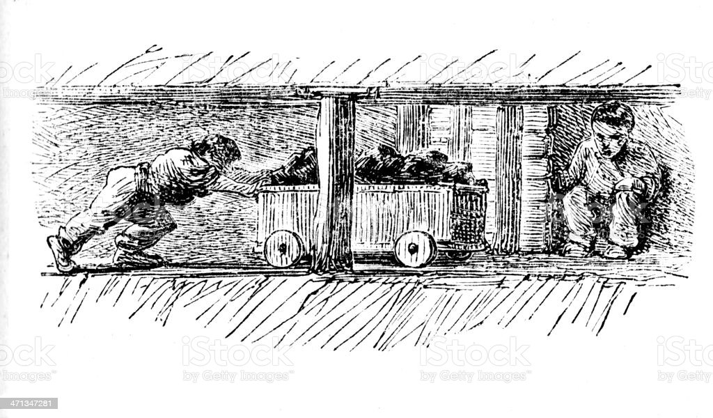 Colliery - below ground in coal mine from 1862 magazine vector art illustration
