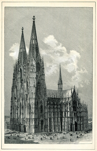 Cologne Cathedral Germany drawing 1898