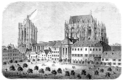 Cologne cathedral under construction 1824 Germany