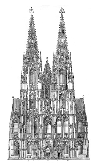 Cologne Cathedral West side 19th century illustration