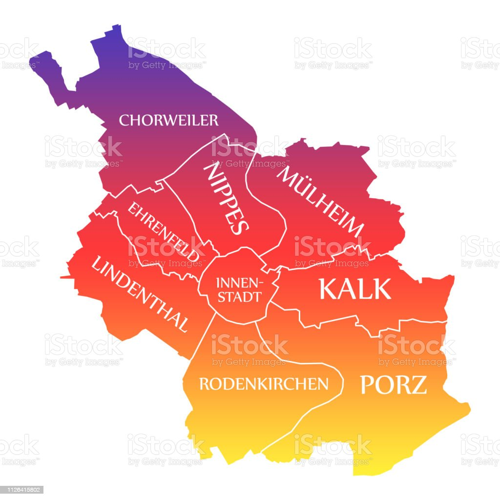 Cologne On Map Of Germany.Cologne City Map Germany De Labelled Rainbow Colored Illustration