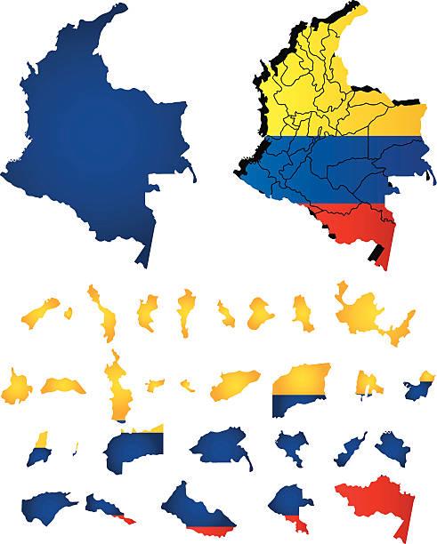kolumbien vektor-karte mit flagge - bucaramanga stock-grafiken, -clipart, -cartoons und -symbole