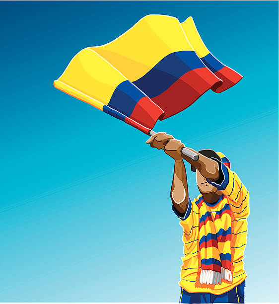 """Colombia Waving Flag Soccer Fan """"Vector Illustration of a Colombian soccer fan. The background is on a separate layer, so you can use the illustration on your own background. The colors in the .eps and .ai-files are ready for print (CMYK). Included files: EPS (v8), AI (CS2) and Hi-Res JPG."""" soccer stock illustrations"""