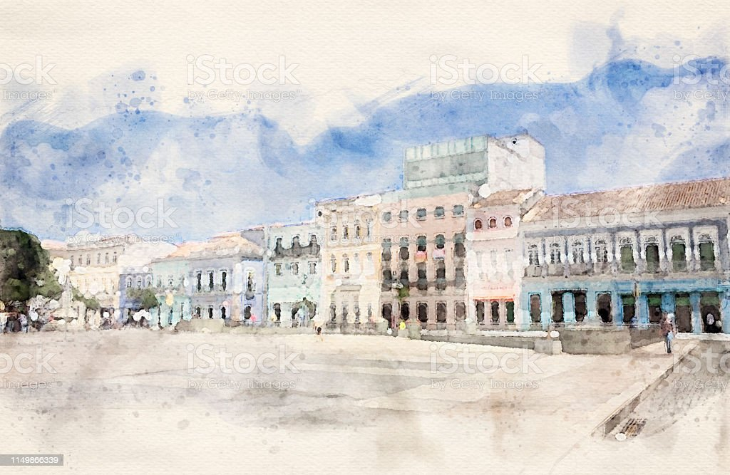 Colonial architecture style in Salvador, Brazil. Watercolor digital...