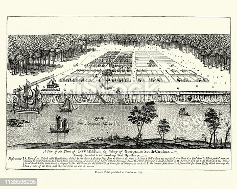 Vintage engraving of Colony of Savannah, Georgia, South Carolina, 18th Century