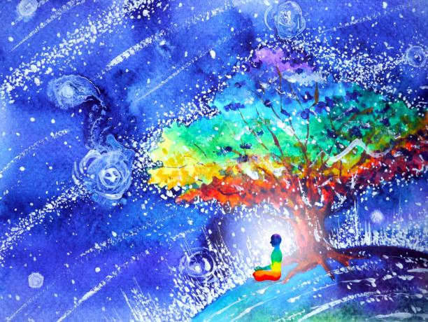 bildbanksillustrationer, clip art samt tecknat material och ikoner med 7 färg chakra mänskliga lotus pose yoga, abstrakta världen, universum inuti ditt sinne mental, akvarell målning illustration design hand dras - earth from space