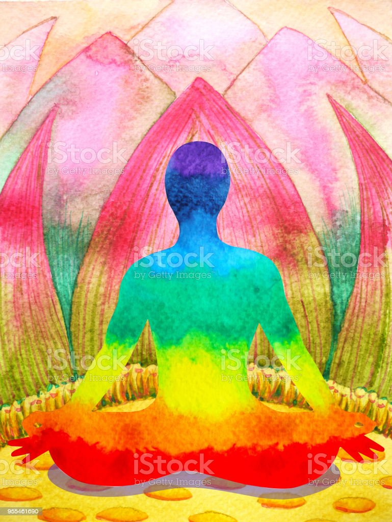 7 color chakra human lotus pose yoga abstract world universe inside your mind mental