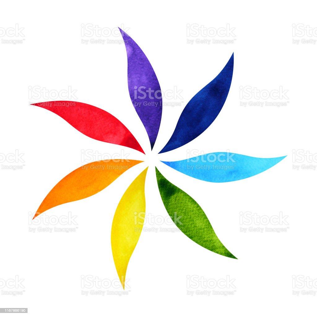 Renkli Cakra Mandala Sembol Kavrami Suluboya Boyama Simgesi