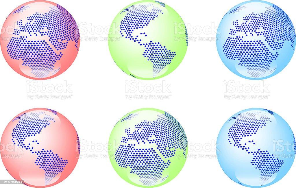 RGB color globes vector art illustration