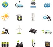 16 color icons representing different alternative energy related symbols.