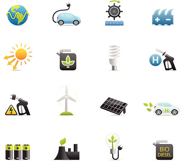 stockillustraties, clipart, cartoons en iconen met color icons - alternative energy - waterstof