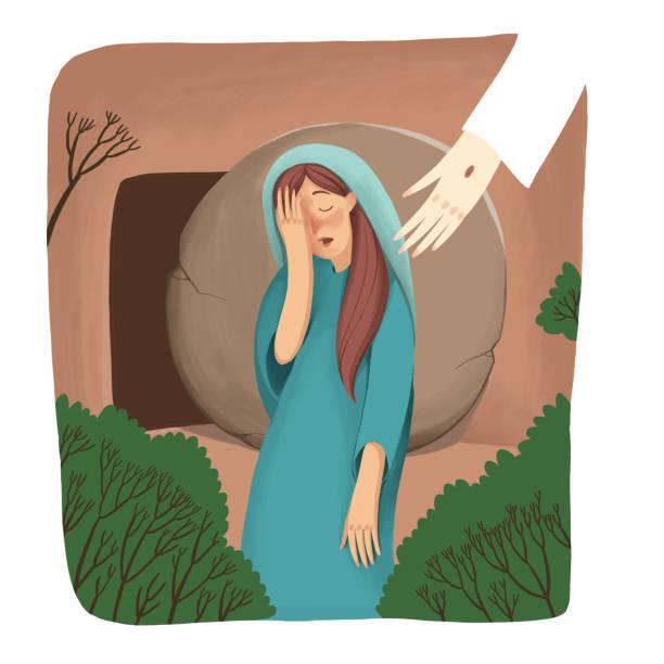 stockillustraties, clipart, cartoons en iconen met kleur de illustratie. bijbelse verhaal over de opstanding, mary staan in de buurt van het lege graf en huilen, maar jezus niet zien. - funeral crying