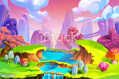 Creative Illustration and Innovative Art: Color in Nature! The Mountain, River and Green Grass. Realistic Fantastic Cartoon Style Artwork Scene, Wallpaper, Story Background, Card Design