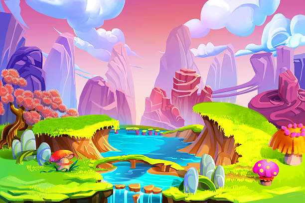Color in Nature River Realistic Fantastic Cartoon Style Artwork Scene Creative Illustration and Innovative Art: Color in Nature! The Mountain, River and Green Grass. Realistic Fantastic Cartoon Style Artwork Scene, Wallpaper, Story Background, Card Design dreamlike stock illustrations