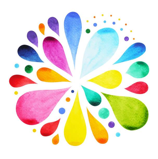 7 color of chakra mandala symbol concept, flower floral, watercolor painting hand drawn icon, illustration design sign, rain water drop splash - mindfulness stock illustrations