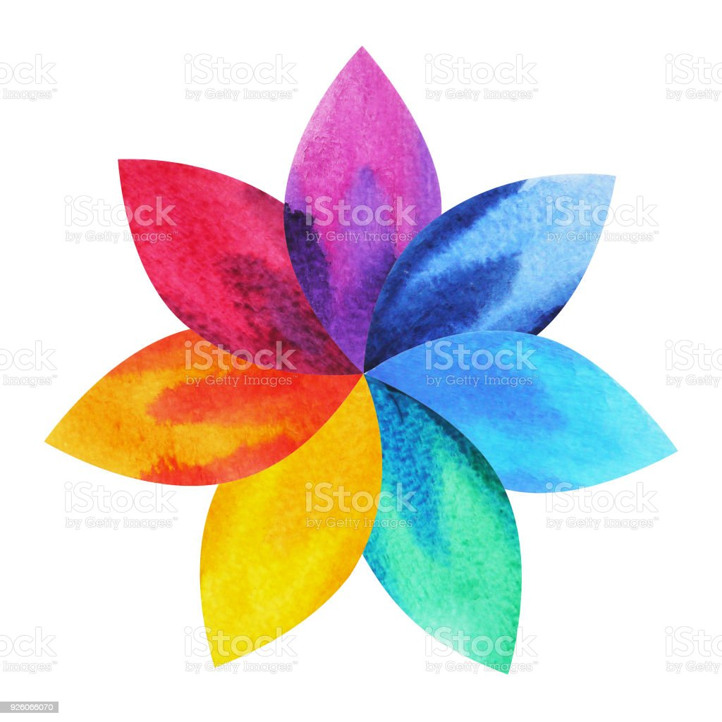 7 color of chakra sign symbol colorful lotus flower icon watercolor 7 color of chakra sign symbol colorful lotus flower icon watercolor painting hand drawn mightylinksfo Images