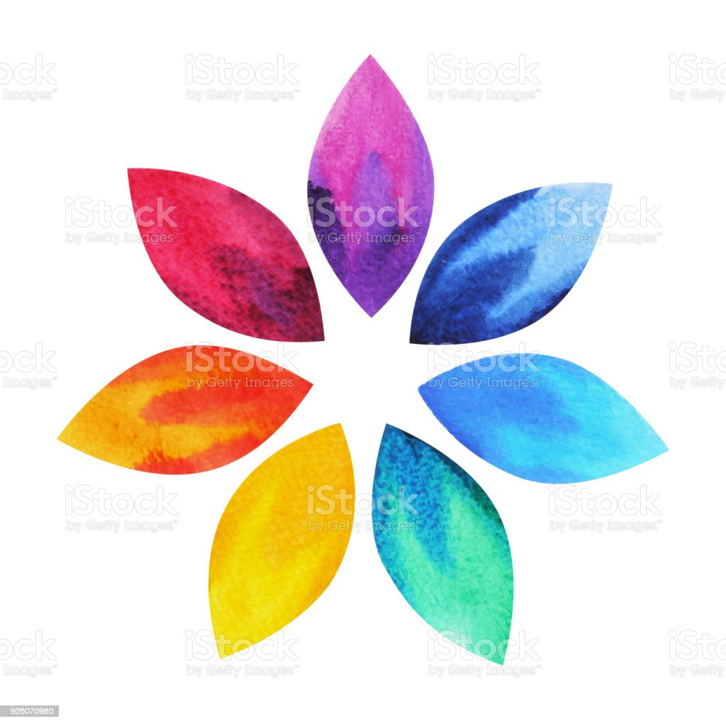 7 color of chakra sign symbol, colorful lotus flower icon, watercolor painting hand drawn, illustration design vector art illustration