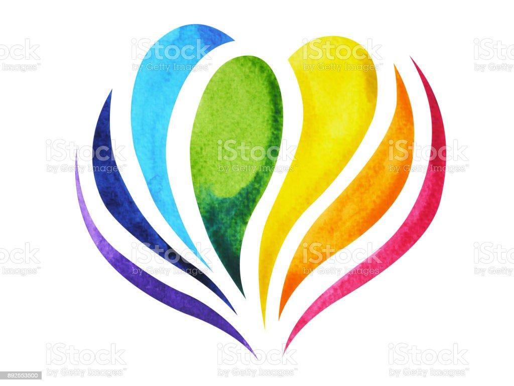 7 colores de símbolo de signo de chakra, flor de loto colorida, dibujado a mano acuarela, diseño de ilustración - ilustración de arte vectorial