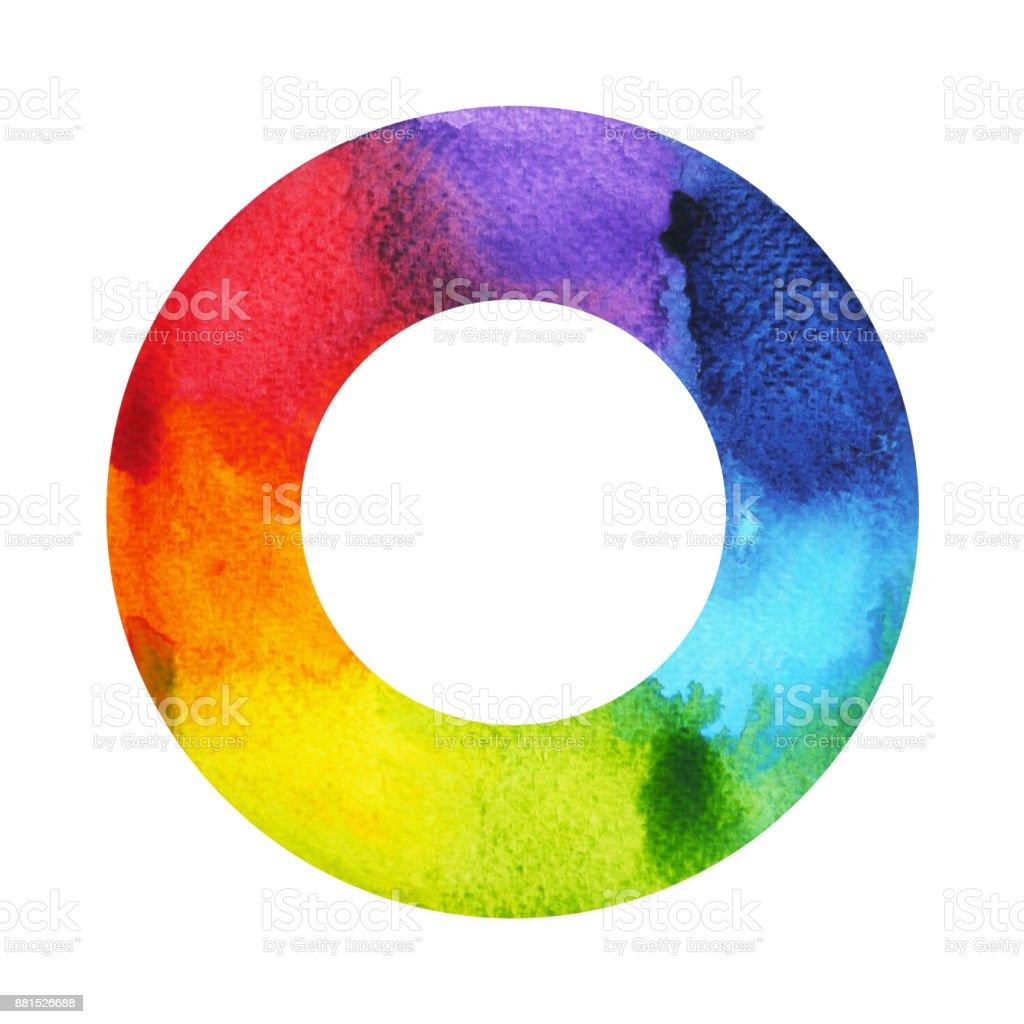 7 cores do conceito de símbolo de chacra, redondo círculo, logotipo de ícone de mão desenhada de pintura em aquarela, ilustração projeto sign - ilustração de arte em vetor