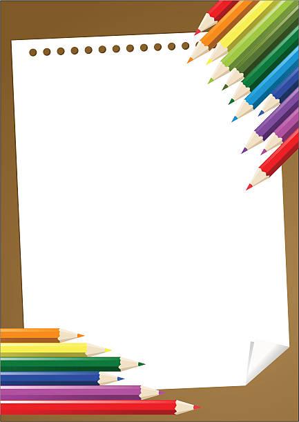 Farbe Stifte mit leeren Papier – Vektorgrafik