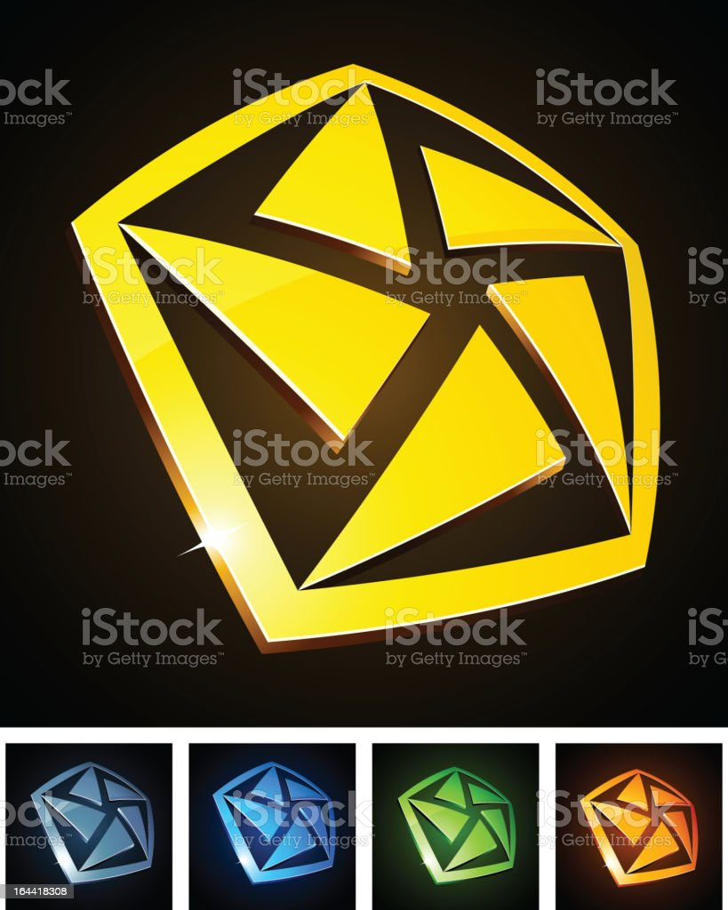 Color pentagon signs. royalty-free stock vector art