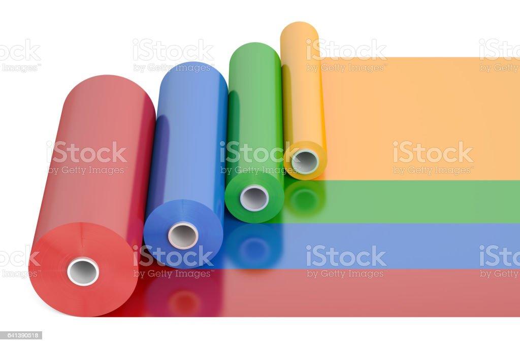 Color PVC Polythene Plastic Tape Rolls, 3D rendering isolated on white background vector art illustration