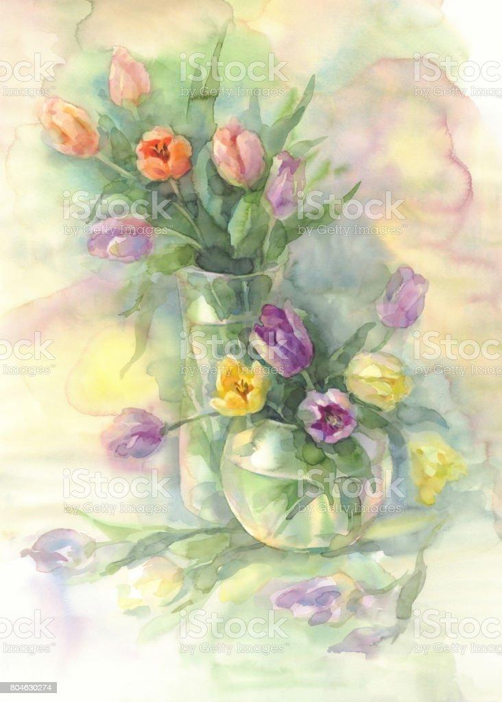Farbe Tulpen In Vase Aquarell Stock Vektor Art Und Mehr Bilder Von