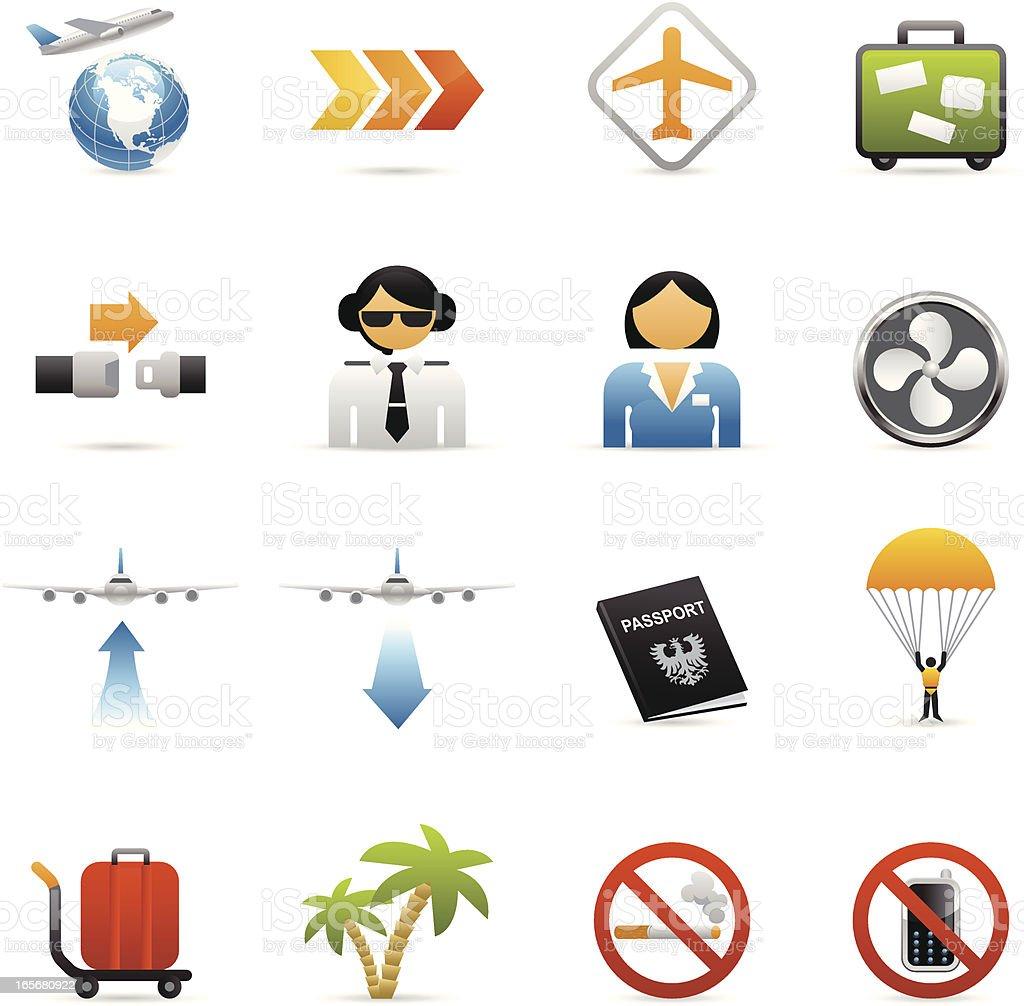 Color Web Icons - Plane Travel vector art illustration