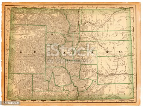 An old map of the state of Colorado scanned from an 1881 original. Photo by N. Staykov (2007) CLICK ON THE LINKS BELOW FOR HUNDREDS OF SIMILAR IMAGES: