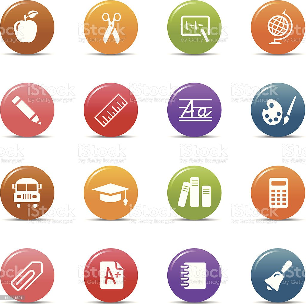 Colored dots - School Icons royalty-free stock vector art