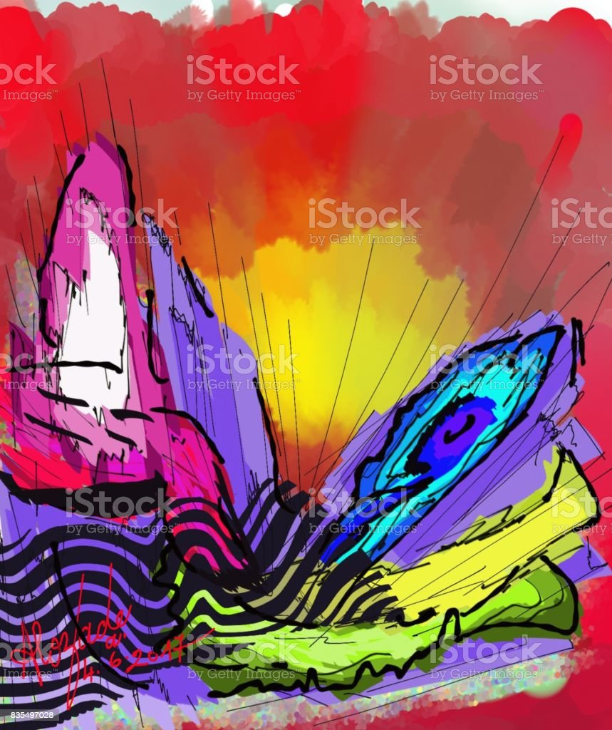 Colored energies My artistic creation of the style Lyrical, expressionist. Abstract stock illustration