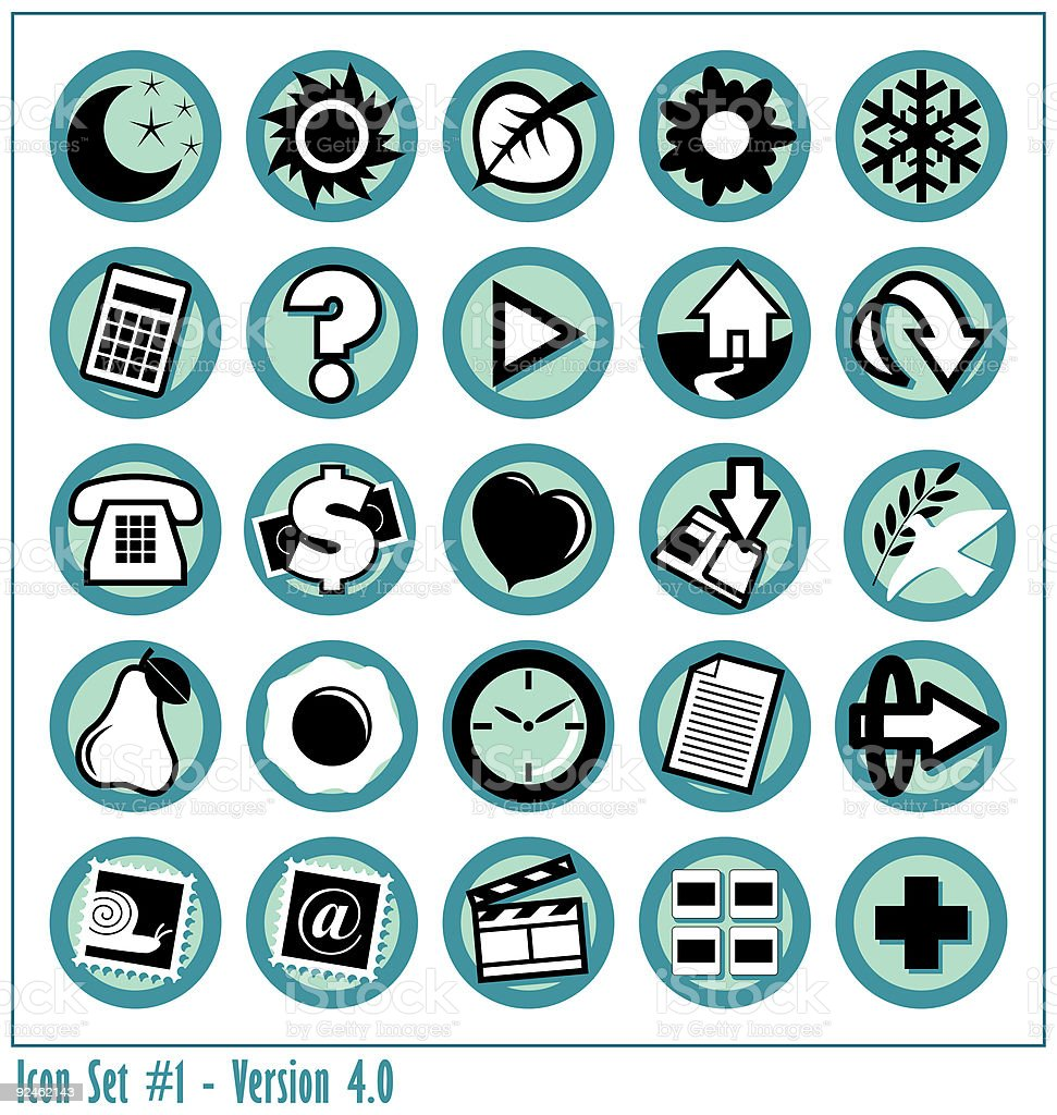 Colored Icon Set 1 - Version 4 royalty-free colored icon set 1 version 4 stock vector art & more images of asking