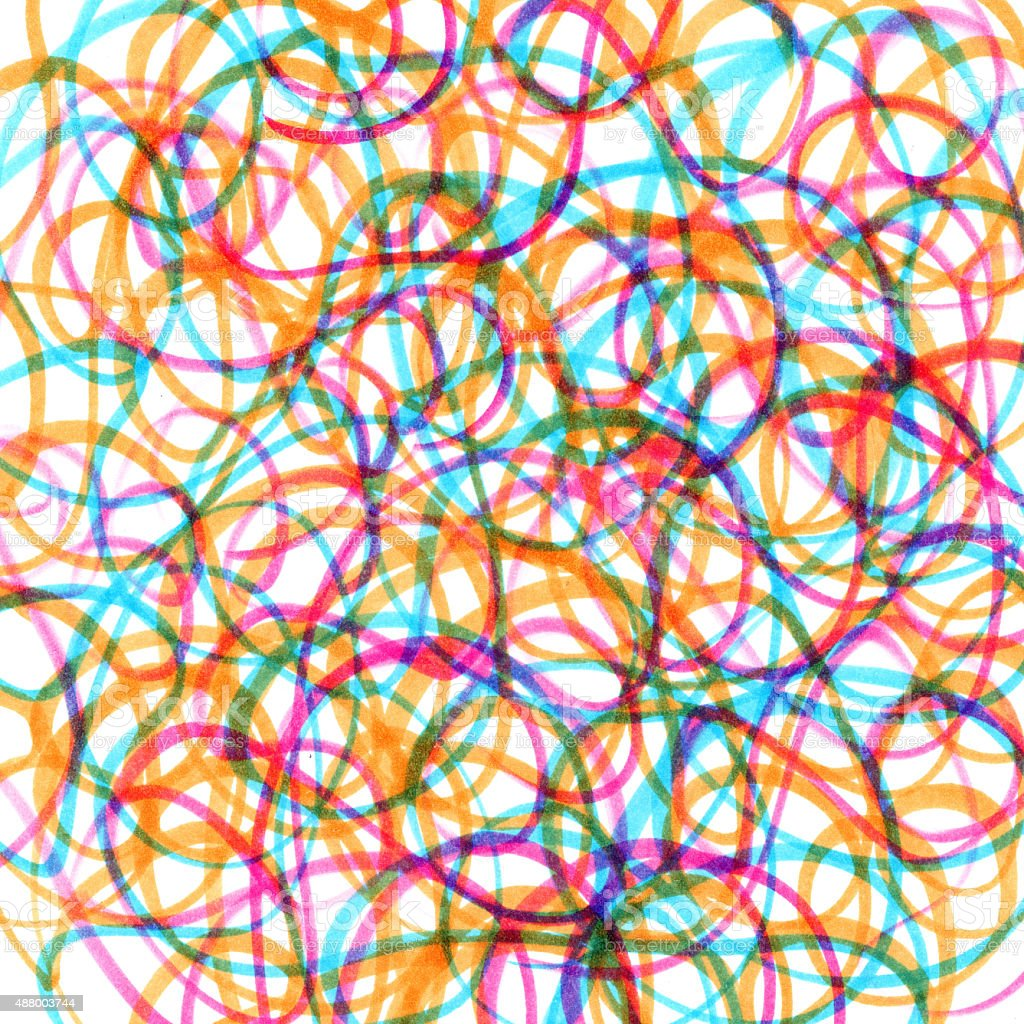 colored marker scribbles on a white background vector art illustration