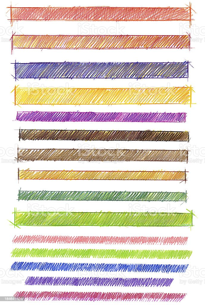 Colored pencil banners vector art illustration