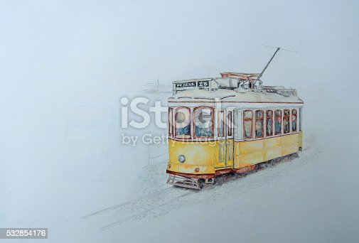 Colored pencil drawing of a Lisbon yellow tram on white background with copy space.