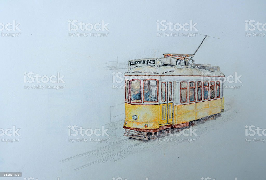 Colored pencil drawing of a Lisbon yellow tram vector art illustration