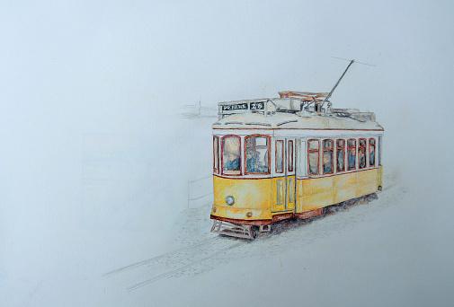 Desenho Um Lápis De Cor Amarelo De Lisboa Eléctrico - Arte vetorial de stock e mais imagens de Amarelo