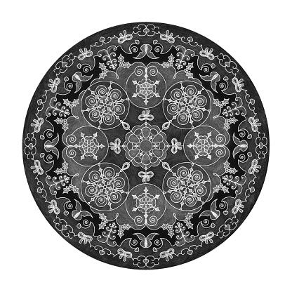Colored pencil effects. Mandala illustration black, white and grey. Christmas theme.