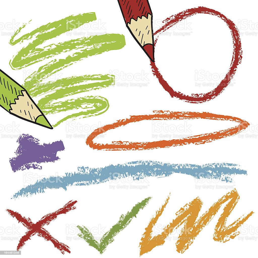 Colored pencil markings design elements for grading or emphasis vector art illustration