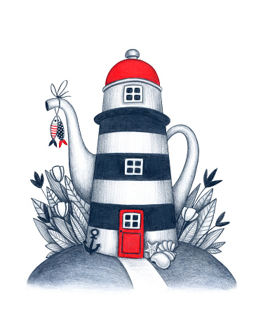 Colored pencils illustration of teapot style lighthouse on the island with fishes on the spout. Hand drawn house in flowers and leaves for design postcards, souvenirs, poster