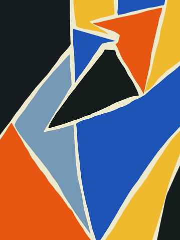 Colorful abstract bauhaus and cubism art style. Bright and harmonious color warm and cold color. Rich and saturated color. Vertical poster for print and book, flyer and home art